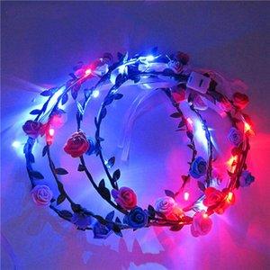 Nuevo diseño LED Flashing Rose Flower Festival Headband Veil Party Halloween Navidad Boda Luz-up Garland Floral Hairband GWC3954
