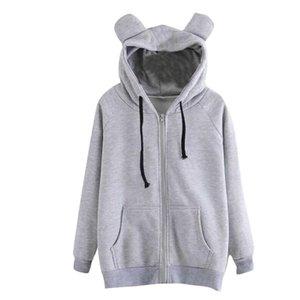 Hooded Women Fashion Solid Color Cartoon Cat Zipper Pocket Long Sleeve Pullover Hoodie Cotton Women Jackets Hoodies