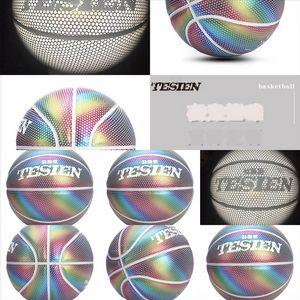 DXXL Baloncesto Holográfico Interior Baloncesto Rainbow Reflejece Luz Bola de baloncesto negro Importado PU Cuero Luminoso Lonzo Lonzo Bal Ba