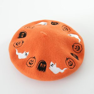 New Autumn and Winter Halloween Cartoon Embroidered Wool Beret in2020,Artist's hat,lady's fashionable woolen bud hat wool beret