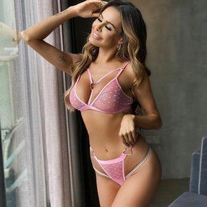 Women Sexy Set Femme Bra Panties Bralette 2 Pcs Sexy Heart Print Ring Tops Thong Pink Bra Fashion Babydoll Underwear