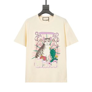 Moda Desinger 21ss Yeni Erkek Kadın T-Shirt Sanat Kedi Baskı Siyah Kedi Nakış İnsan ve Canavar Stil Konfor Tees Boy XS S M L