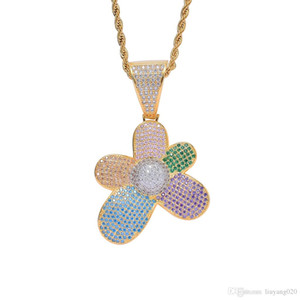 Colorful Hip Hop Flower Jewelry Micro Pave Iced Out Rainbow Cubic Zirconia Flower Pendant Necklace Collares Joyeria Unisex