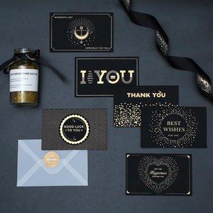 أسود برونز بطاقة المعايدة شكرا لك عيد ميلاد سعيد أنا أحبك طباعة دعوات الزفاف + بطاقة مغلف بطاقة نعمة HWA2458
