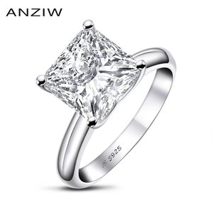 Anuoshi 925 Стерлинговое серебро 3 Карата Принцесса Орубленное кольцо для женщин Sona Simatic Tablet Anbile Anibileary Solitaire Ring Y1124