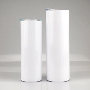Sublimation Skinny Tumbler 20 oz Stainless Steel slim Insulated Tumbler Straight Cup white Beer Coffee Mugs in stock