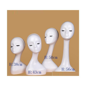 Gloss White Female Mannequins Head Long Neck Model Head Hair Displayer For Wig Hat S qylPue hotclipper