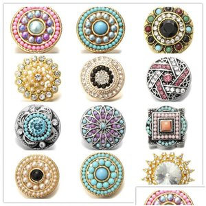 Inlay Pearl Rhinestone Multicolor Snap Buttons 18Mm Metal Flower Decorative Button Charms For Diy Snap Jewelry Findings Lircb