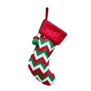 Knitted Christmas Stockings 1PCS Xmas Stocking Strips Stocking for Christmas Decoration and Family Holiday Party Decor