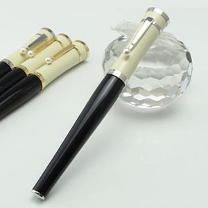 Stylo à bille à bille de haute qualité Greta Garbo Fontaine de fontaine de résine noire / stylo à boule à rouleau avec Perle Silver Clip Office Papeterie scolaire
