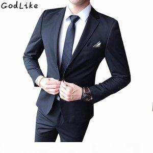 Jacket+Pants Mens Dark Blue and Black Suits With Pants 2017 New Fashion Classic Wedding Business Slim Fit Party Suit Men