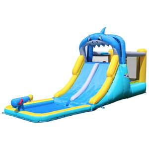 New Design Shark Dual Slides with Pool Ball Pit Basketball Hoop Inflatable Yard Toys for kids Home Use Bouncer Slide Combo with Water Spray