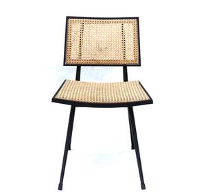 Chaise simple Rattan avec mobilier de designer jaune vintage en métal
