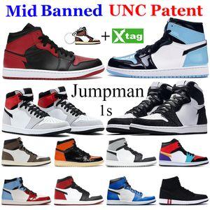 새로운 MID 금지 된 1 농구 신발 1s jumpman 높은 어두운 모카 블랙 메탈릭 골드 UNC 빛 연기 회색 시카고 로얄 발가락 스포츠 스니커 즈
