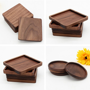 Coasters in legno nero tazza di noce tazza tappetino ciotola pad caffè tazza di tè tappetini tappetini da pranzo piatti cucina barra di casa strumenti sottobicchieri per tavolo in legno all'ingrosso
