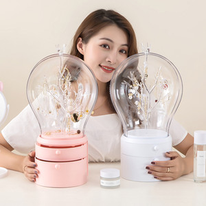 Dropshipping LED Light Makeup Organizer Transparent jewelry Storage Box Portable 360 both rotate Earrings necklace Rack Z1123