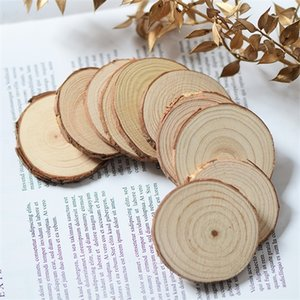 10pcs 8-9cm*1cm,Natural Real Round Pine Wood chips,Dried DIY Hand painting props,Tableware coaster Christmas decoration Z1120