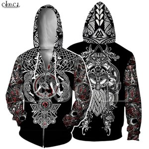 Nordic Viking Tattoo Hoodie Women Men Pirates 3D Print Vikings King Casual Long Sleeve Zipper Hooded Coat Drop Shipping