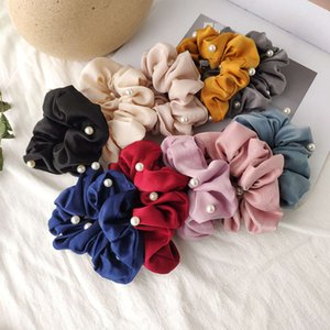 New Korean pearl hairpin silk scarf large intestine head cloth loop hair ornament