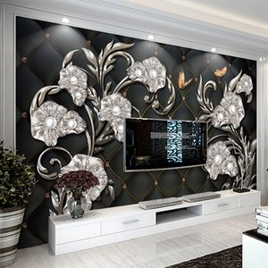 European Style Luxury Wallpaper 3D Stereo Flower Jewelry Photo Mural High Quality Hotel Living Room Background Wall Home Decor