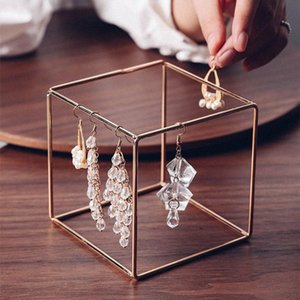 Nordic Golden Jewelry Display Rack Simple Ornaments Cubic Metal Storage Stand Minimalist Earrings Bracelet Organizer Holder