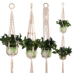 Flower pot hanging basket Plant Hanger Hook Flower Pot Handmade Knitting Natural Fine Cordage Planter Holder Basket Balcony Decoration