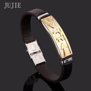 Jujie Bracelets 여성용 2020 스테인레스 스틸 팔찌 팔찌 골드 컬러 태양 패턴 가죽 팔찌 금속 커프 남자
