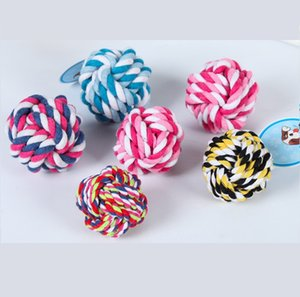 Colorful Pet Cotton Chew Knot Rope Ball 5cm 7cm 8cm Pet Dog Toys Interactive Durable Ball Shaped Pet Dog Cotton Braided Toy
