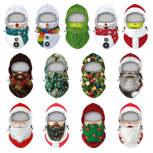 Christmas Mask Digital Printing Face Masks Winter Outdoor Ski Warm Hood Adjustable Headwear Xmas Decoration Head Cover OWA2593