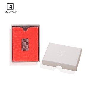 Liulihua Moda Mulheres Slim Bolsa De Aço Inoxidável Bloqueio Personalizado Designer Luxury Ridge Carteira de couro com mini card tither