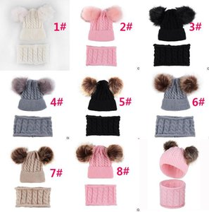 Autumn and winter children's hair ball double ball knit hat wool hat + bib suit knitted wool edging warm two-piece dc929