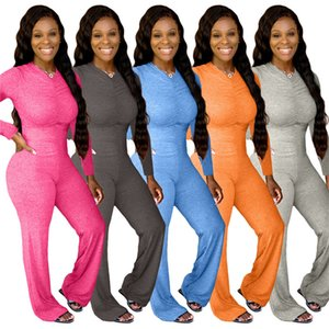 Plus size Women solid color Jumpsuits wide leg rompers long sleeve loose onesie sexy overalls casual bodysuits v neck one piece pants 4205