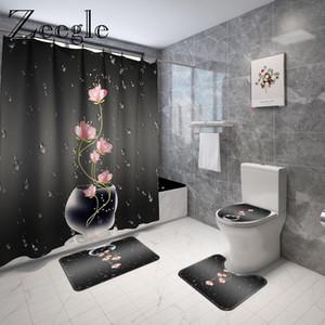 Tapis de bain Tapis floraux imprimés et rideau de douche Ensemble de couverture de toilette en microfibre Tapis de sol absorbant