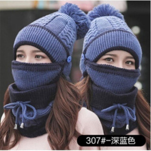 Hat winter women's Mask Hat For Girls Scarf Thick Warm Fleece Inside Knitted Scarf Set 3pcs Winter Riding Fashion Hats