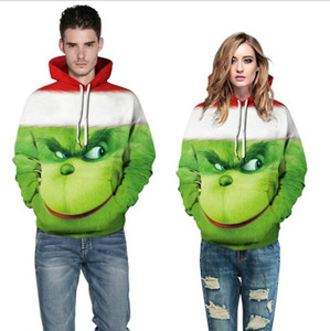 Popular Men Women 3D Green Monster Grinch Mascot Hoodie Grinch Sweatshirt Casual Long Sleeve Christmas Hoodies Loose Tops Size S-5XL