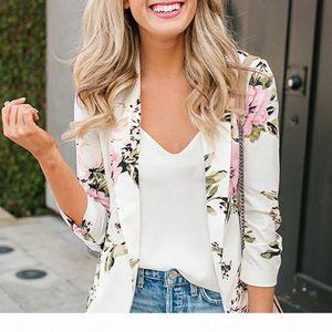 Elegant Blazer Feminino Women Floral Long Sleeve Blazer Notched Collar Coat Female Outerwear SH19062702