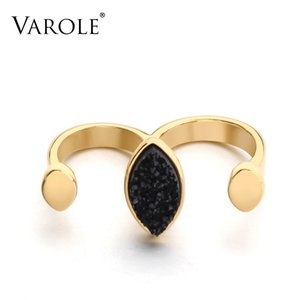 VAROLE New Arrival Punk Men's Two Fingers Rings Personality Hip Hop Copper Knuckles Fashion Ring for Women Jewelry