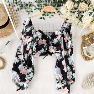 French Elegant Blouse Women Boho Floral Printed Shirt Casual Loose Slash neck Long Sleeve Tops Laides Sexy Short Blouse Au6