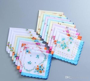 1000pcs 100% Cotton Handkerchief Cutter Ladies Handkerchief Craft Vintage Hanky Floral Wedding Handkerchief 30*30cm SN1939