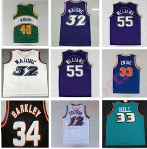 Jerseys de basketball rétro Garnett 33 Hill Ason Stockton 32 Karl Malone Jason Williams Ewing Gary Payton Kemp Barkley Jersey NCAA