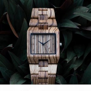 BOBO BIRD Rectangle Zebra Mens Wooden Wrist Watch Top Quartz Watches with Full Wooden Band in Gift Box