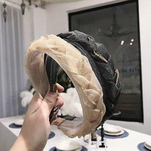 Nova Moda Mulheres Acessórios de Cabelo Turbante Lace Malha Headband Adulto Hand-Woven Twov Twist Chain Chain Hairband Atacado