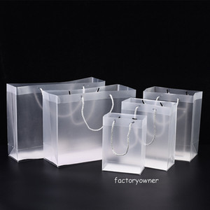 8 Size Frosted PVC plastic gift bags with handles waterproof transparent PVC bag clear tote handbag party favors bag custom logo