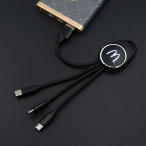 2020 Cell Phone Accessories Keychain Charging Cable 3 in 1 Personalized LED USB C Cable For Promotional