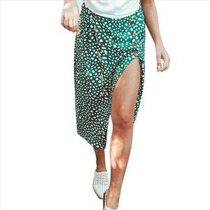High Waist Split Mini Skirts Women Button Green Leopard Dot Print Casual Chic Summer Skirt Sexy High Fashion Boho Skirt cjh