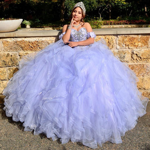 Off the Shoulder Lavender Quinceanera Dresses 2020 bestidos para 15 anos Girl Sweet 16 Dress Pageant Gowns vestidos