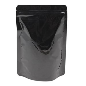 50pcs Lotto Zip Blocco Supporto alto in alluminio Stail Bag Heat Sealeabile Glossy DoyPack Reipable Caffè Snack Tè Drogheria Packaging Pouch H Bbyiaz