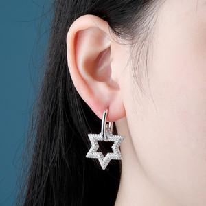 Hip Hop CZ Zircon Bling Ice Out Jewish Star of David Drop Earrings for Men Women Pentagram Dangle Unisex Fashion Jewelry Super Star Earring