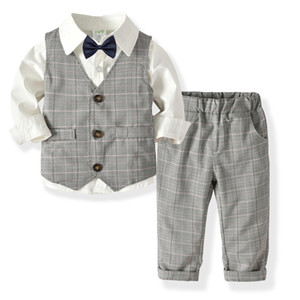 1-3 year autumn children clothing Long sleeve 3pcs suit British gentleman baby 1st Birthday party dress boys outfit kids clothes Y1117