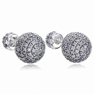 Real 925 Sterling Silver Natural Crystal ball Earrings fit Pandora style Silver Jewelry for Women Diamond disco Beads Stud Earring